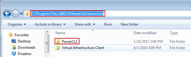 PowerCLI folder location