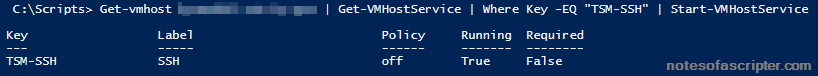 Enable SSH via PowerCli
