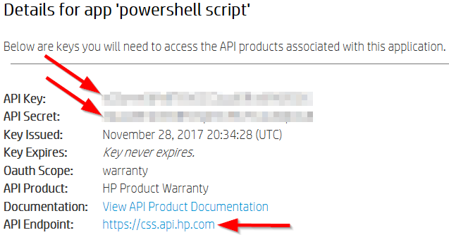 HP API Credentials and Endpoint