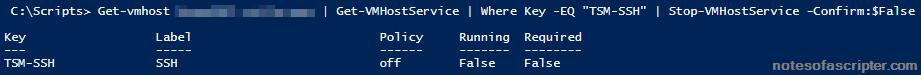 Disable SSH via PowerCli