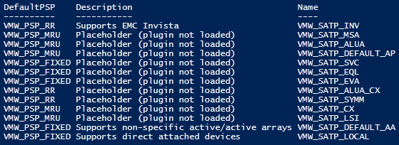 esxcli.storage.nmp.satp.list