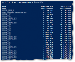 The results from running Get-FreeSpace function
