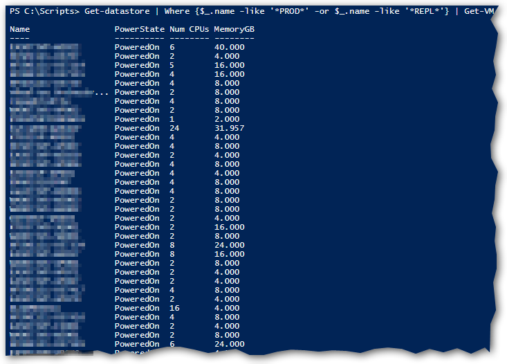 Output of script to get VMs on certain datastores