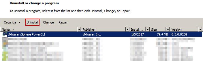 Uninstall PowerCLI via Add/Remove Programs