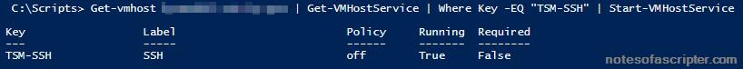 Enable SSH via PowerCli