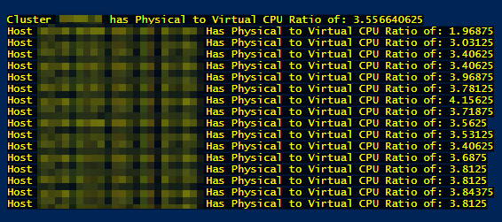 Cluster with VMhost Ratio